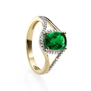 9ct Yellow Gold Created Emerald (6X8mm Cushion Cut) & Diamond Set Halo Ring With Split Shoulders