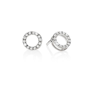 Sterling Silver Cubic Zirconia (CZ) Set Open Circle Studs