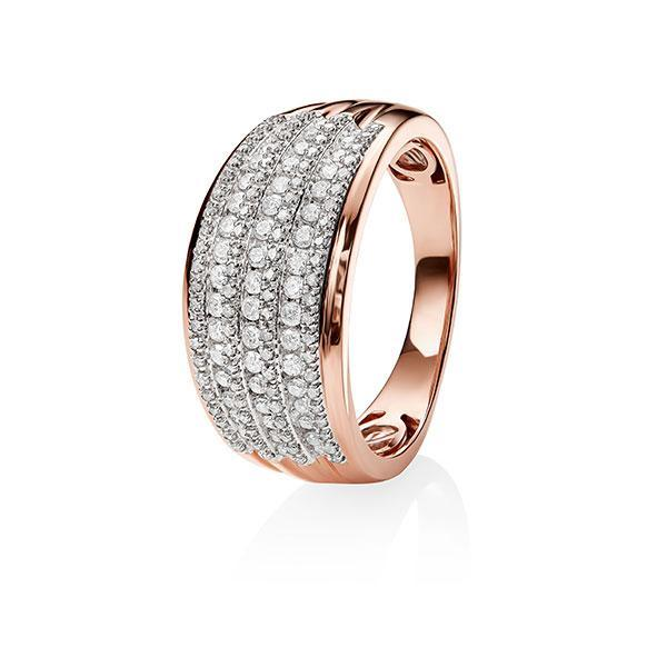 9ct Rose Gold 7 Row Pave & Channel Set 0.50ct Dia Dome Ring (So# 388)