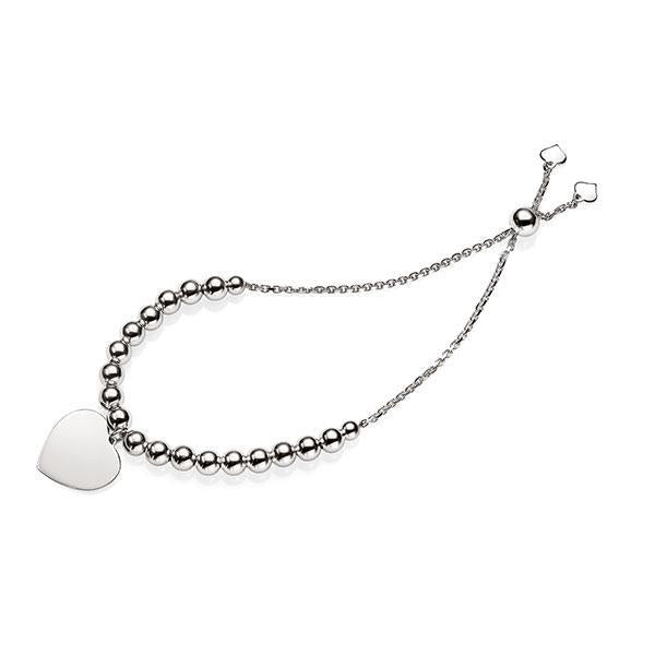Silver Beaded Friendship Bracelet With Heart Charm