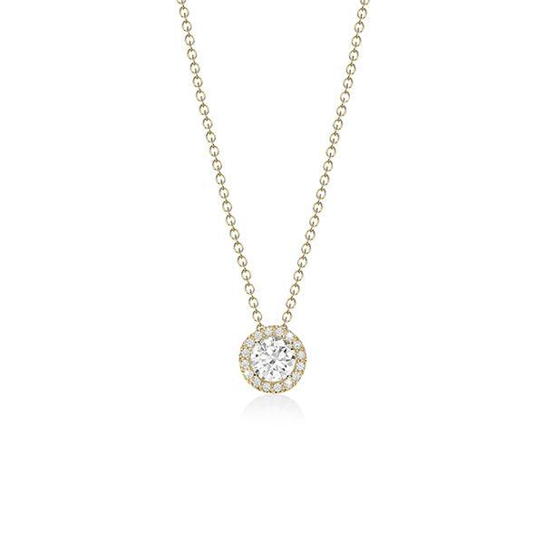 9ct Yellow Gold Cubic Zirconia (CZ) Halo Pendant And Chain