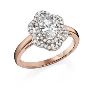 9ct Rose Gold Cubic Zirconia Cluster Ring