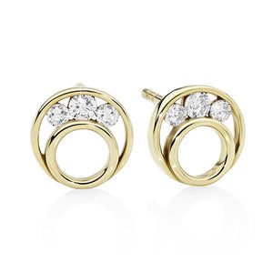 9ct Yellow Gold Cubic Zirconia (CZ) Open Circle Stud Earrings