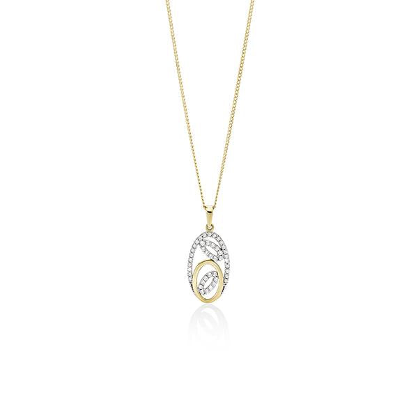 9ct Gold Cubic Zirconia (CZ) Oval Shape Pendant