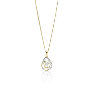 9ct Gold Cubic Zirconia (CZ) Open Circle Tear Shape Pendant