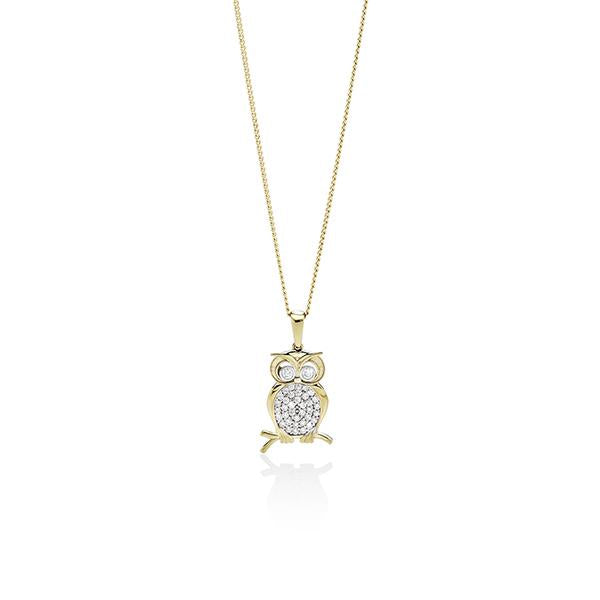 9ct Yellow Gold Cubic Zirconia (CZ) Owl Pendant