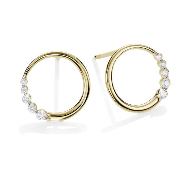 9ct Yellow Gold Circle Diamond Stud Earrings