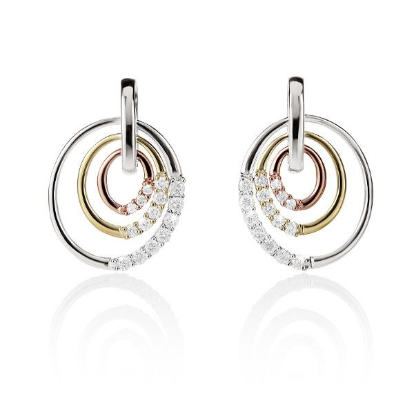 9ct 3-Tone Circles Diamonds 0.25ct Studs