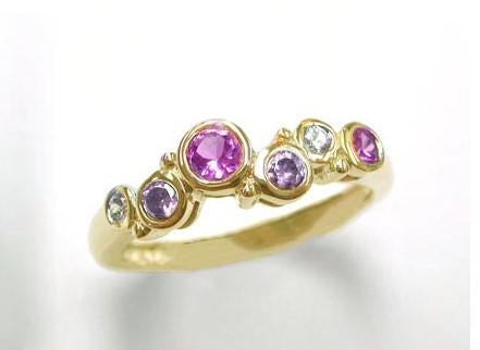 9ct Yellow Gold Am, Pink Sa  & Dia 0.07ct Ring