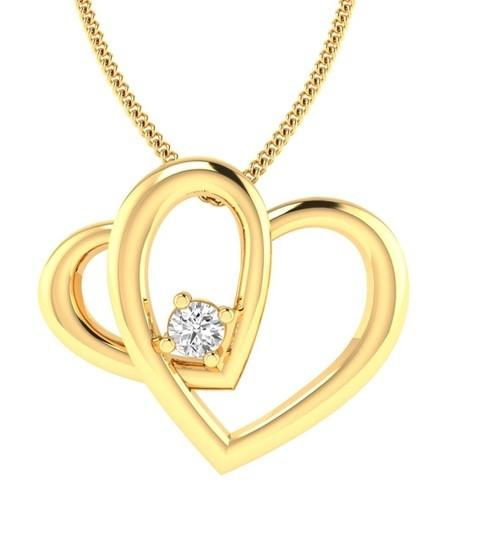 9ct Yellow Gold Diamond 0.03ct Double Heart Pendant