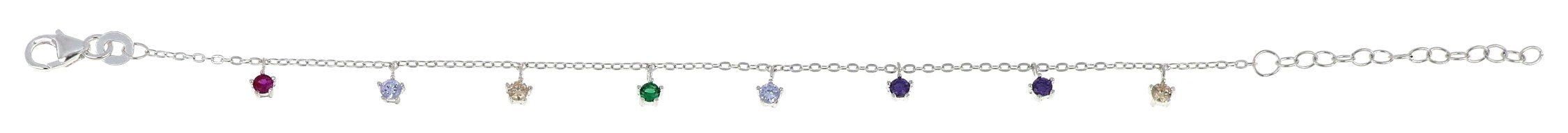 Sterling Silver Multi-Color Cubic Zirconia Bracelet