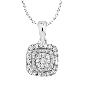 9ct White Gold Diamond 0.12ct Cluster Cushion Shape Pendant