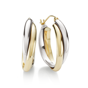 9ct Gold-Bonded Silver Yellow & White 2-Row Rusterling Silverian Hoop Earrings