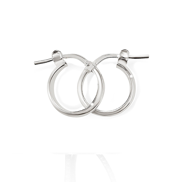 Sterling Silver 20mm 2mm Polished Half Round Hoops