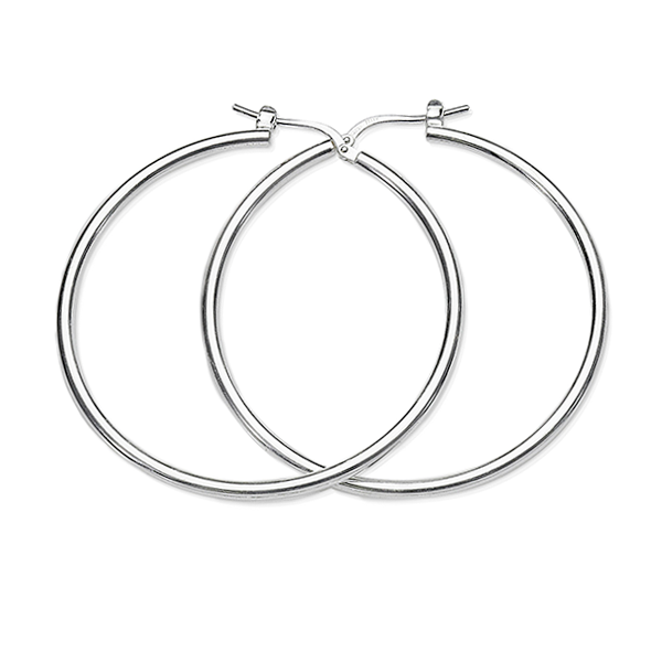 Sterling Silver 30mm 2mm Polished Tube Hoops