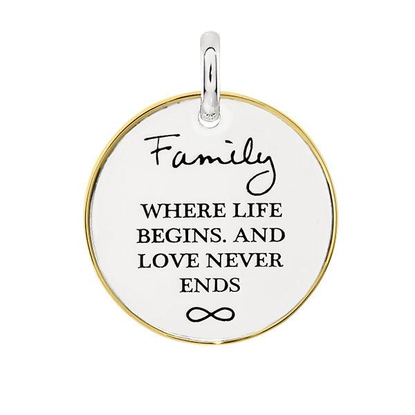 Candid 'Family,  Where Life Begins And Love Never Ends' Pendant