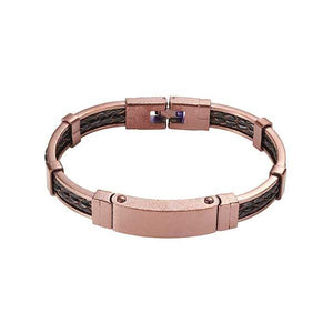 Cudworth Stainless Steel & Leather Bangle