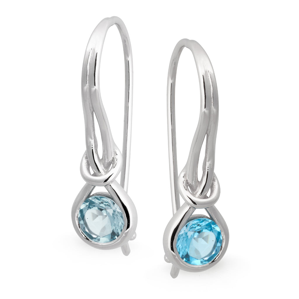 MMJ - Blue Topaz Bezel Set Shepherd Hook Earring