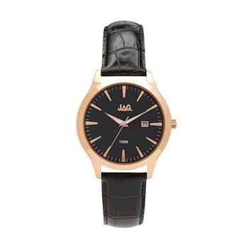 Jag Dan II Black Baton Dial with Black Strap Watch