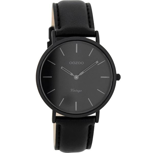 OOZOO Watch 36mm matt black alu case / dark-grey on black / black