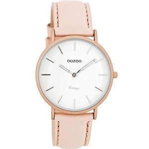 OOZOO Watch 36mm matt blush pink alu/ silver on white / blush pink