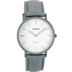 OOZOO Watch 36mm matt steel-grey alu/ silver on white / steel-grey