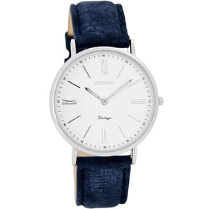 OOZOO Watch 36mm silver case / silver on white / textured navy