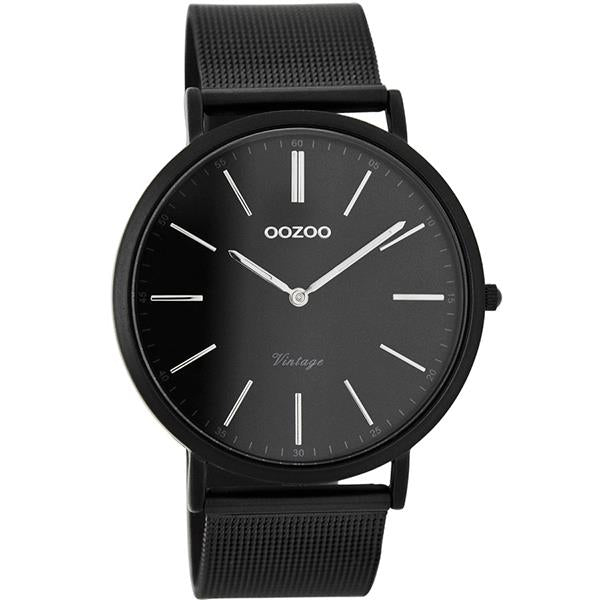OOZOO Watch 40mm matt black alu/ silver on black / matt black alu mesh