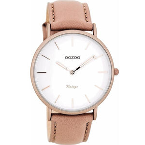 OOZOO Watch 40mm matt dusty pink alu/ rose gold on white / dusty pink