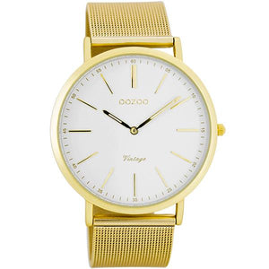 OOZOO Watch 40mm matt gold alu/gold on wht/matt gold alu mesh