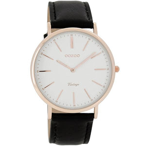 OOZOO Watch 40mm  rose gold on white / black