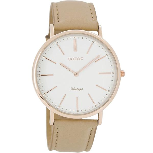 OOZOO Watch 40mm rose gold on white / sand