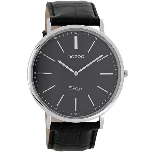 OOZOO Watch 44mm silver case / silver on black