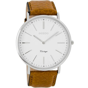 OOZOO Watch 44mm silver on white/cognac (tan)