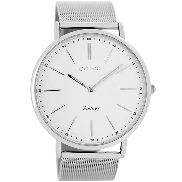 OOZOO Watch 44mm silver on white / silver mesh