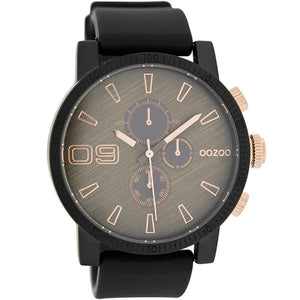 OOZOO Watch 45mm matt blk/rose gld+blk/rose'scratch'/blk rubber