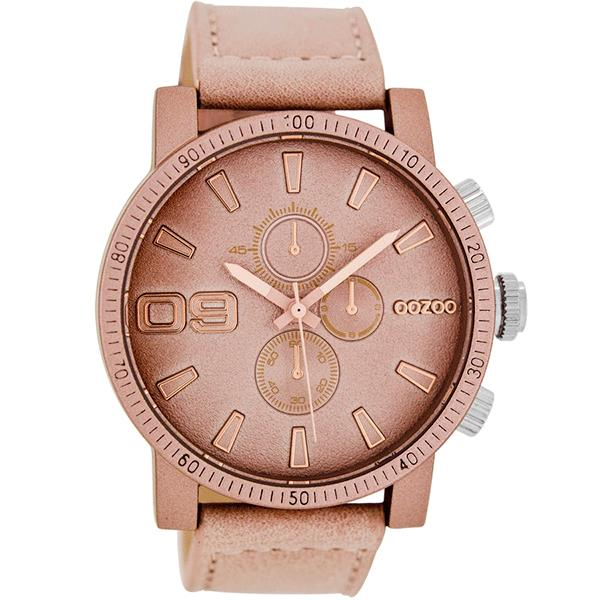 OOZOO Watch 45mm matt dusty pink case/ rose gld on dusty pink