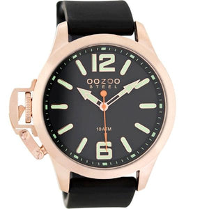 OOZOO Watch 46mm matt rose gld(10ATM)/diver's green on blk/blk rubber