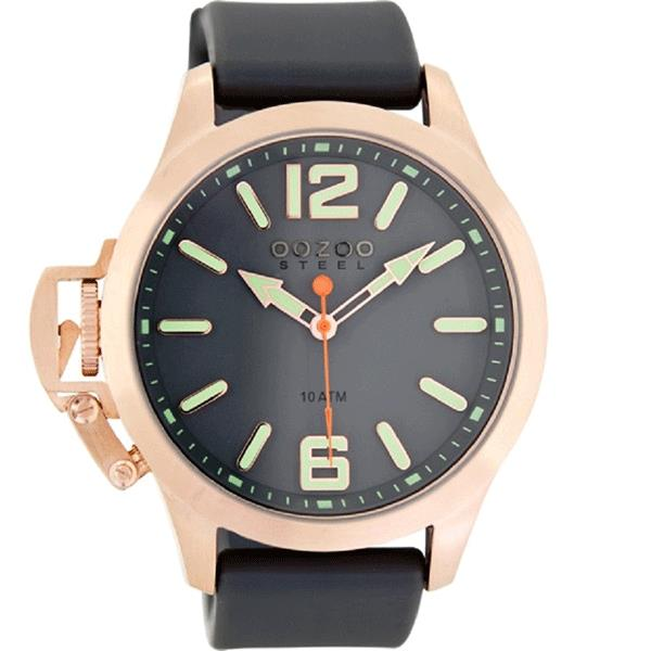 OOZOO Watch 46mm matt rose gld(10ATM)/diver's grn+grey/grey rubber