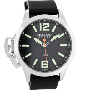 OOZOO Watch 46mm matt silver(10ATM)/diver's green on blk/blk rubber