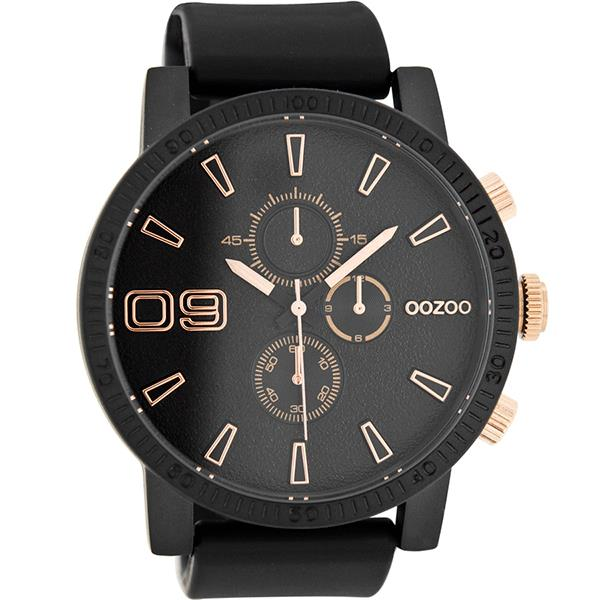 OOZOO Watch 50mm matt blk alu/rose gold on blk/blk rubber