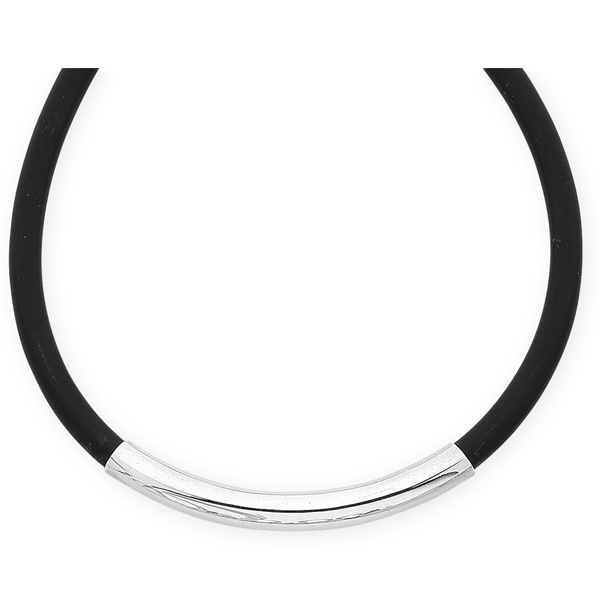 Sterling Silver Black Band Gents Bracelet