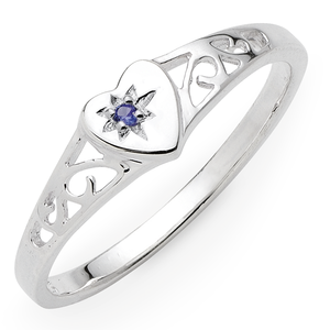 Sterling Silver Created Sapphire Set Ring