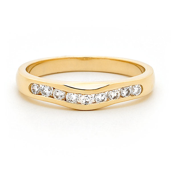 18ct Gold Channel Set Curved Diamond Ring