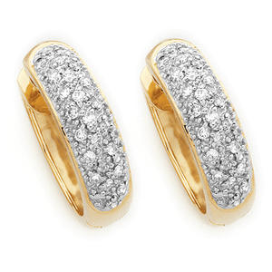18ct Gold Pave Set Huggies
