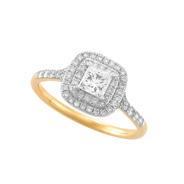 18ct Gold Princess Cut Double Halo Engagement Ring