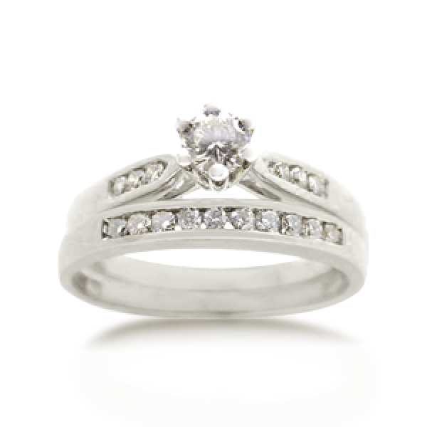 18ct Round Brilliant-cut 0.35ct TDW Diamond Bridal Set
