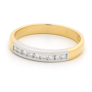 18ct Two Tone Gold Diamond Channel Set Band