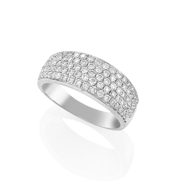18ct White Gold Dome Micro Pave Set Round Brilliant-cut Diamond Ring
