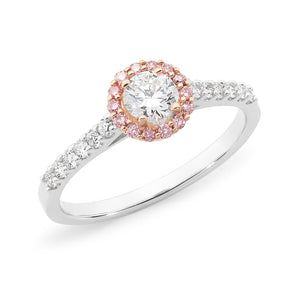 18ct White Gold Halo Diamond Ring with Rose Gold setting.